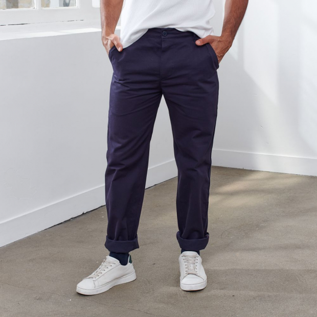 Chino trousers in marine blue