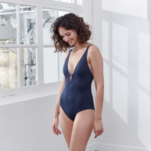 Blue swimsuit with buttons