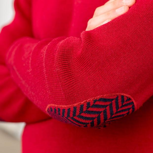 Pullover mit Fischgrätmuster-Details