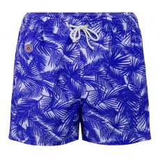 Le Haddock Tropical - Blue swim short with pattern