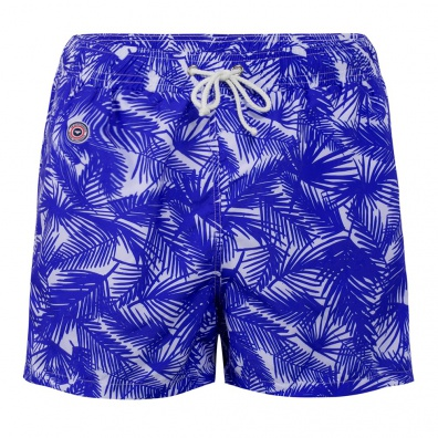SWIM WEAR - Le Haddock Tropical - Blue swim short with pattern