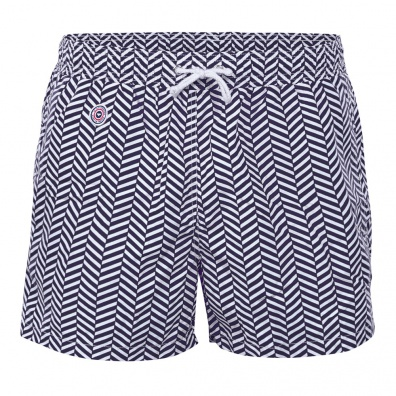 SWIM WEAR - Le Haddock Chevron Blue - Blue swim short with pattern