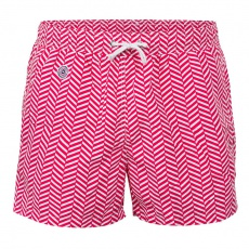 Le Haddock Chevron Red - Red swim short with pattern