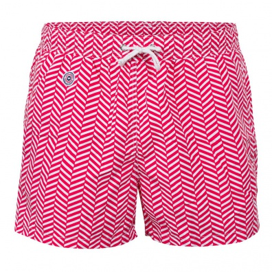 SWIM WEAR - Le Haddock Chevron Red - Red swim short with pattern