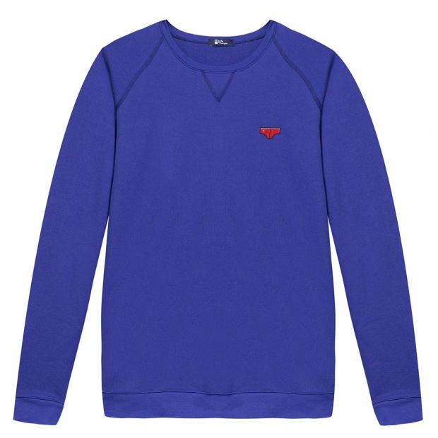 Sweat-shirt bleu à écusson