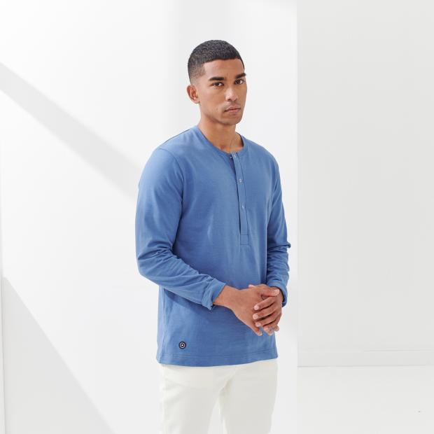 Heavy jersey button-down cotton T-shirt