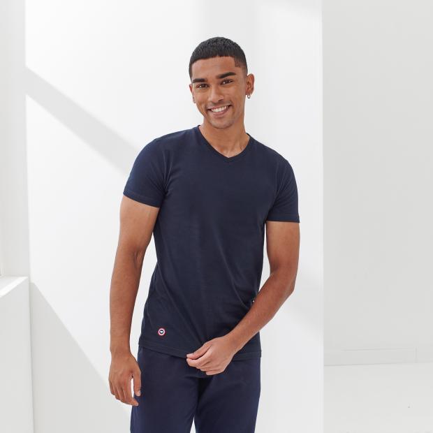 T-shirt mixte Col V en coton