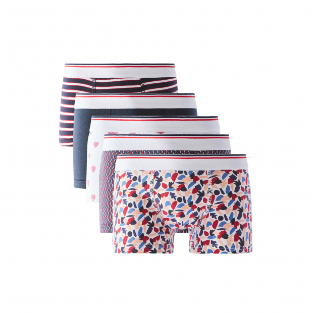 Five pairs of cotton boxers