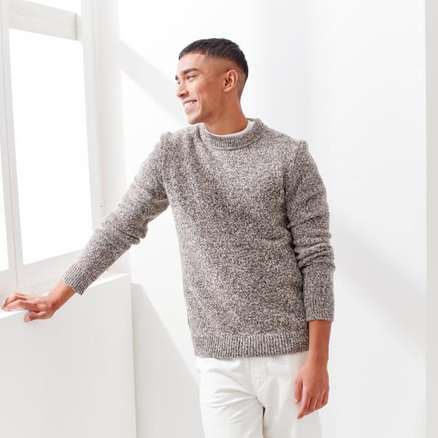 Gemischter Pullover aus französischer Wolle mit Garn