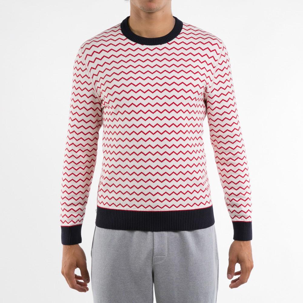 Le Mono - Roter Pullover mit weißen Streifen