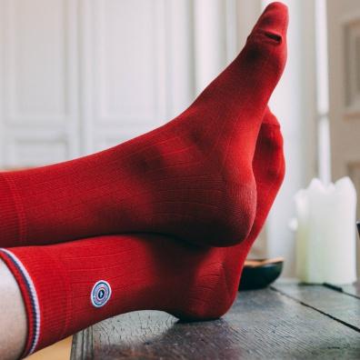 Chaussettes Homme - Les Nessy - chaussettes fil d'écosse rouge homme