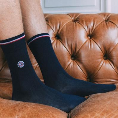 Chaussettes Homme - Les Nessy - chaussettes fil d'écosse bleu homme