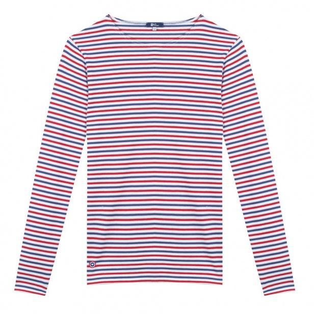 Blau-Weiß-Rot gestreiftes Langarmshirt