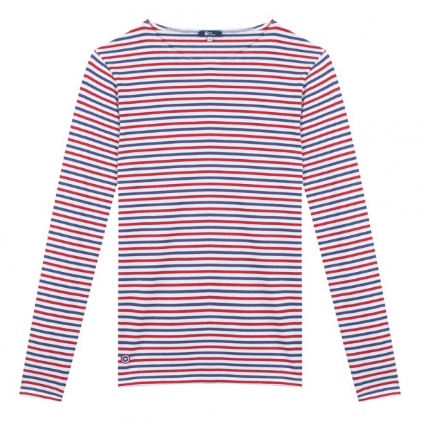 Blue White Red striped shirt