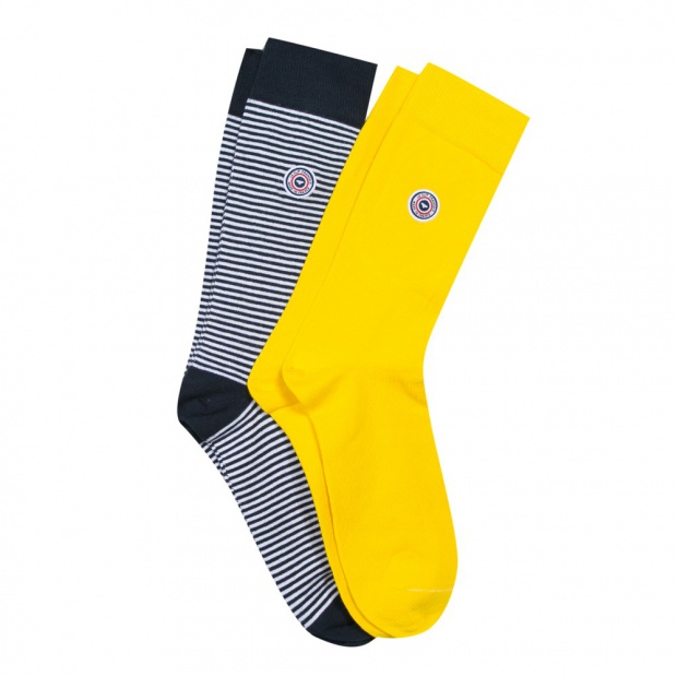 2 pack socks yellow & blue