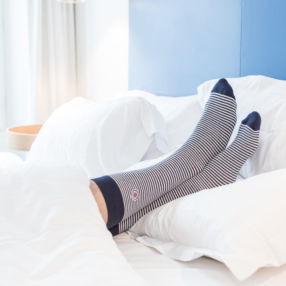 Les Lucas - Chaussettes rayées bleu et blanc