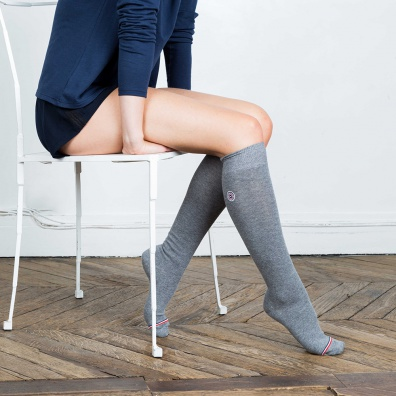 SOCKS - Les Daniel Grey- Grey knee-high socks
