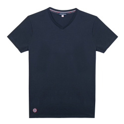 Le Julien marine - T-shirt marine Col V