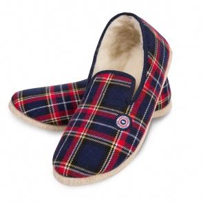 Les charentaises Tartan - chaussons tartan rouges et bleues