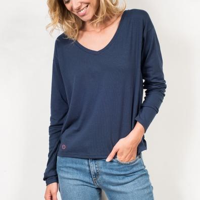 Vêtements Femme - La Marthe bleue marine - T-shirt manches longues