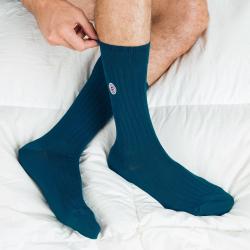 Les Nessy canard - chaussettes fil d'écosse bleu canard