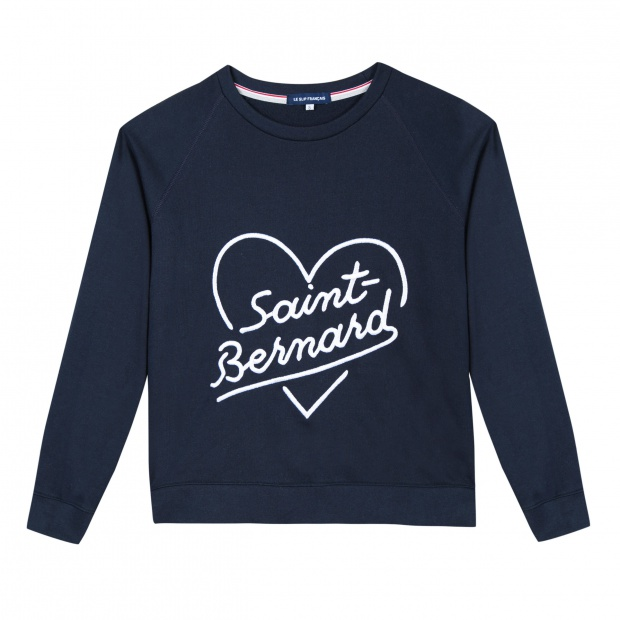 Sweat-shirt bleu brodé Saint-Bernard