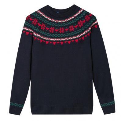 PULLS FEMME - La Mylène guirlande marine - Pull en laine bleu marine à motif