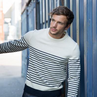 INDISPENSABLES - Le Marinière - pull mixte en laine fond blanc