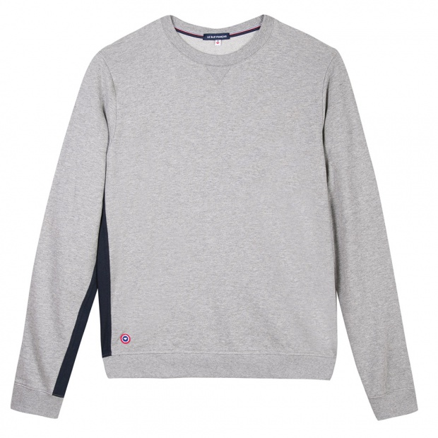 Sweat-shirt gris bande bleue