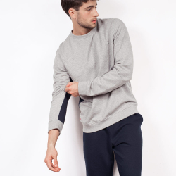 Le Basile - Sweat-shirt gris bande bleue