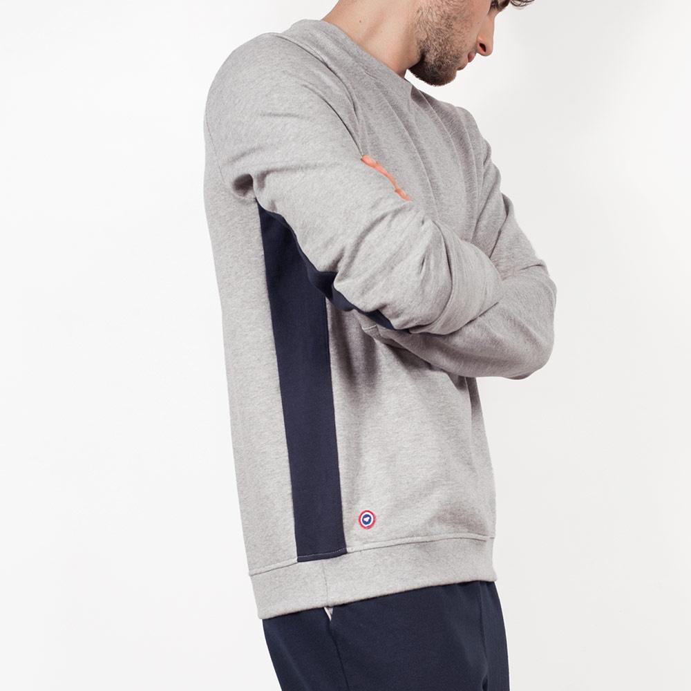 Le Basile - Sweat-shirt gris bande bleue