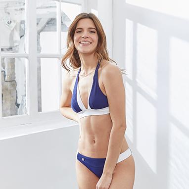 Maillot de bain 2 pieces bicolore bleu blanc Le Slip Français